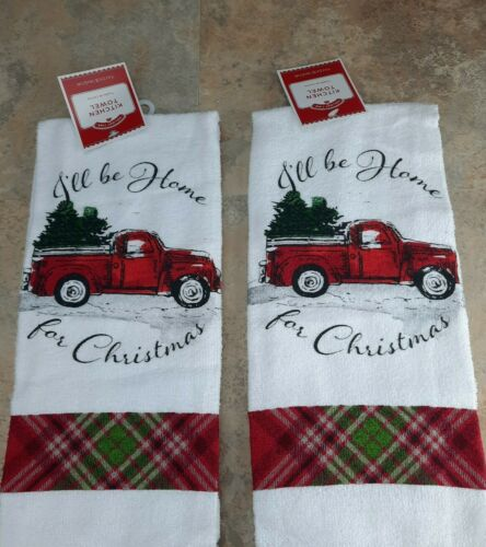 NEW Christmas Tree Red Truck Kitchen Dish Hand Towels Set of 2  FREE SHIPPING