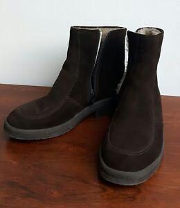 Details zu Bama Stiefel 9,5 Lammfell Leder braun true vintage 60er 70er top Zustand