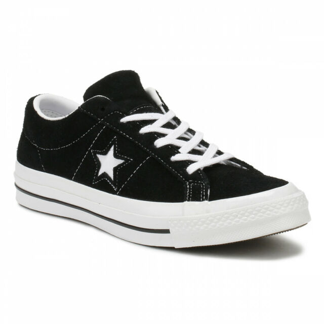 Converse One Star Ox Black White Suede Mens Trainer Shoes 158369C