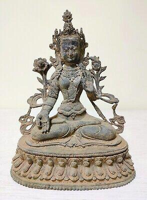 Exquisite Old collectionsTibet Bronze Tibetan Buddhism Statue Green tara