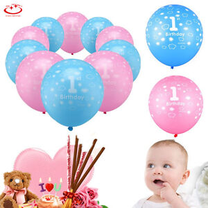 10pcs Baby 1st Birthday Balloons Girl Boy Printed Number 1 Party