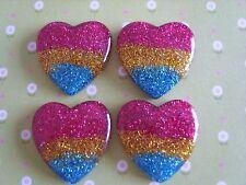 4 x Mixed Glitter Hearts Flatback Resin Embellishment Crafts ,Hair bow, Cabochon