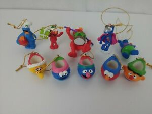 Sesame-Street-Workshop-Christmas-Ornaments-Lot-Of-10