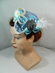 Mini Dreispitz Blau Marie Antoinette Brokat Barock Rokoko Damenhut Oktoberfest üBerlegene Leistung Damen-accessoires