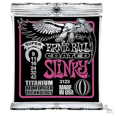 Ernie Ball 3123 Coated Super Slinky Titanium Electric Guitar Strings 9-42