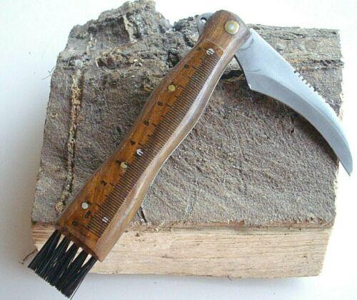 Pilzmesser,Schwammerlmesser mit Bürste und Skala Holzgriff  NEU!