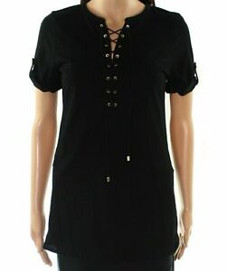 Lauren-by-Ralph-Lauren-NEW-Black-Womens-Size-Small-S-Lace-Up-Knit-Top-79-537