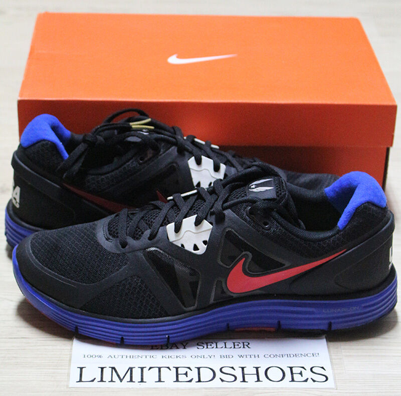 NIKE LUNARGLIDE+ 3 BLACK RED USATF TRACK FIELD 454164-064 city grey bluee olympic