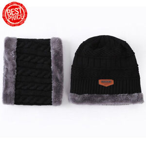 ff74db1669b Fashion Beanie Hat Scarf Set Knit Hats Warm Thick Winter Cap For Men ...