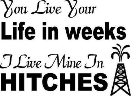 I Live Mine In HITCHES vinyl decal//sticker oilfield roughneck//rig hand