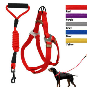 Step-in-No-Pull-Pet-Dog-Strap-Harness-amp-Leash-Set-Nylon-Adjustable-for-Dogs-S-M