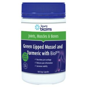 Henry Blooms Green Lipped Mussel & Turmeric with BioP 100 Vege Capsules Joints