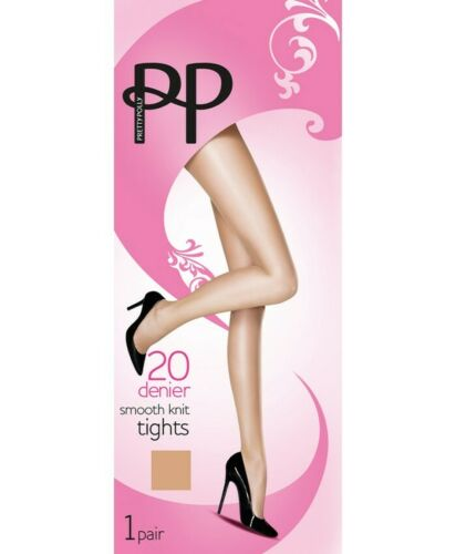 20 Denier Smooth Knit Tights 2 Pairs M//L Pretty Polly SUN MAGIC Med// Large