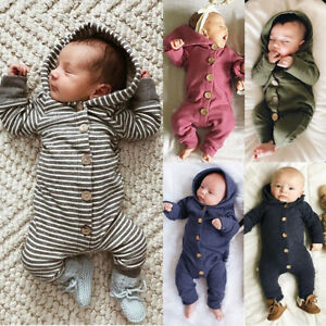 NEW Baby Kids Boy Girl Infant Hooded Romper Jumpsuit Bodysuit Clothes Outfit Set