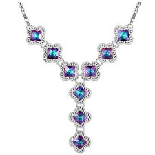 Silver Plated Rainbow Mystic Topaz Drop Necklace In Vintage Style