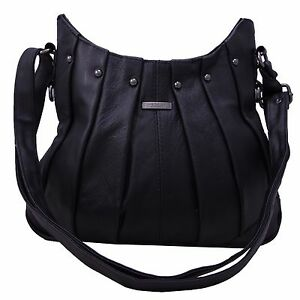 d1ef08e9d570 Ladies Women Genuine Leather Handbag Black Soft Cross Body Shoulder ...