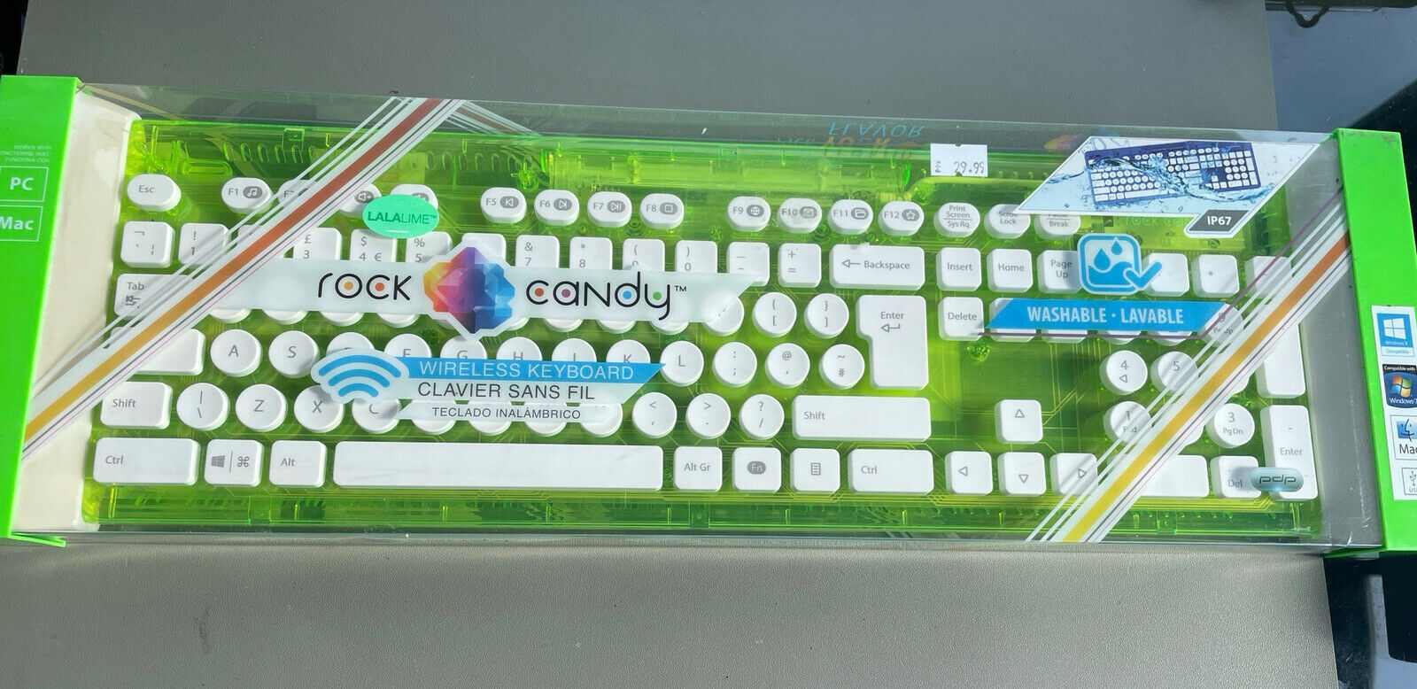 Brand new Lala Lime Rock Candy Washable, Wireless Keyboard