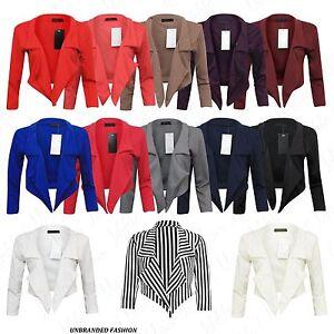 Womens-Celebs-3-4-Sleeve-Ladies-Crop-Top-Waterfall-Short-Blazer-Jacket-Cardigan