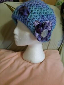 Beanie Hat Hand Made Crouched in USA Beautiful Retro Attractive Vintage hat Never Used