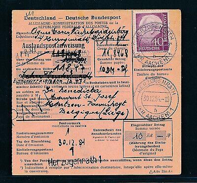 Gehorsam 88480) Auslands - Postanweisung Heuss Ef 40pf Herzogenrath - Belgien