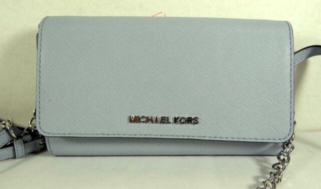 MICHAEL KORS JET SET TRAVEL LEATHER Large WALLET PHONE CROSSBODY IN Pale Blue