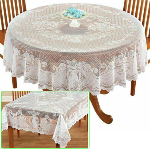 White Lace Tablecloth Rectangle Round Table Cloth Cover Wedding Party Banquet