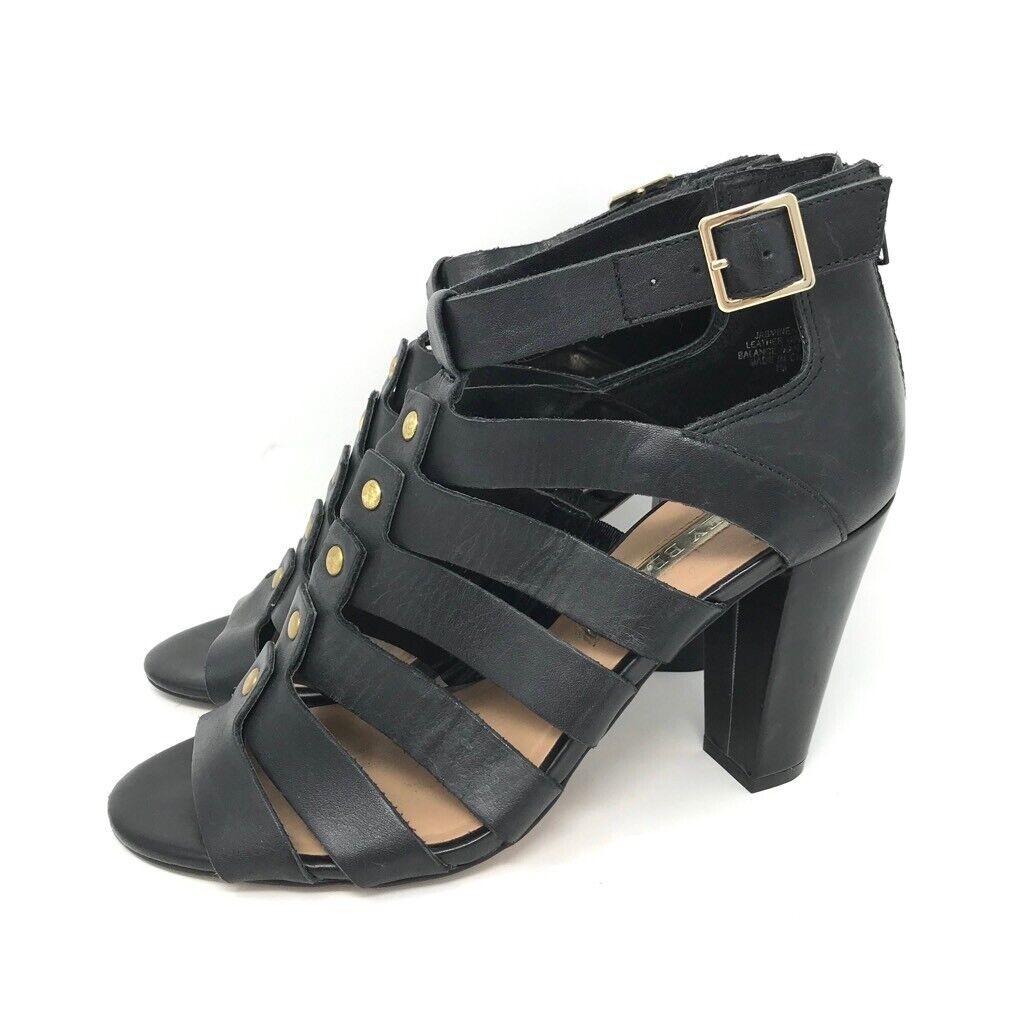 Audrey Brooke Womens Strappy Gladiator Sandals Black Zip Chunky Heels Leather 7