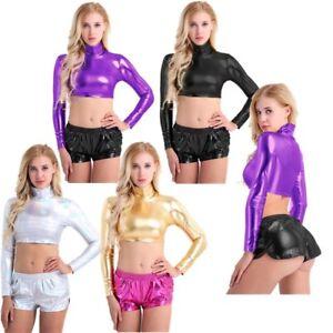 Women-Metallic-Crop-Top-Turtleneck-Long-Sleeves-Short-T-Shirts-Tee-Clubwear-Vest