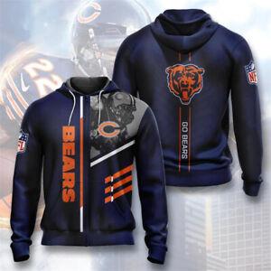 Chicago Bears Men's Hoodie Full Zip Hooded Sweatshirt Casual Jacket Coat Tops