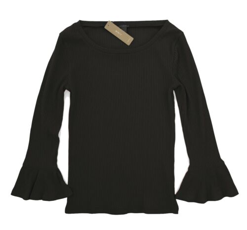 J Crew Solid Black Ribbed Knit Bell Long Sleeve Tee Womens L NWT