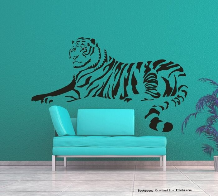 Wandtattoo Wandaufkleber Tiger Löwe liegend 547