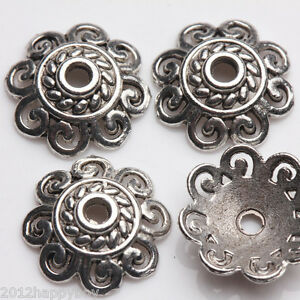 25Pcs-Tibetan-Silver-Flower-Shaped-Beads-Cups-Charm-Jewelry-Findings-12x3mm