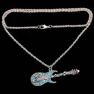 Silver plt Blue Crystal Guitar Pendant Chain Necklace Jewelry party xmas gift