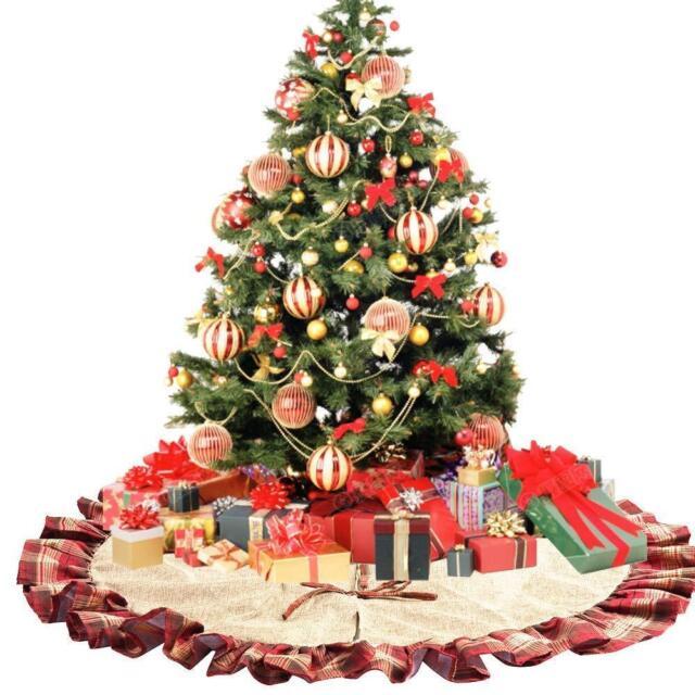 CHICHIC 48 Inch Christmas Tree Skirt Decorations Linen ...