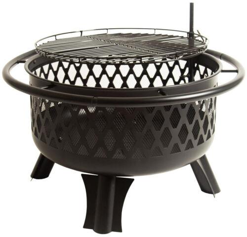 Steel Wood Fire Pit Hampton Bay Piedmont 30 in Black Cooking Grate Outdoor New