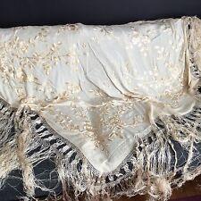 Exceptionnel CHALE en Soie Bordée XIXè Fait Main Antique French Embroidery 19thC