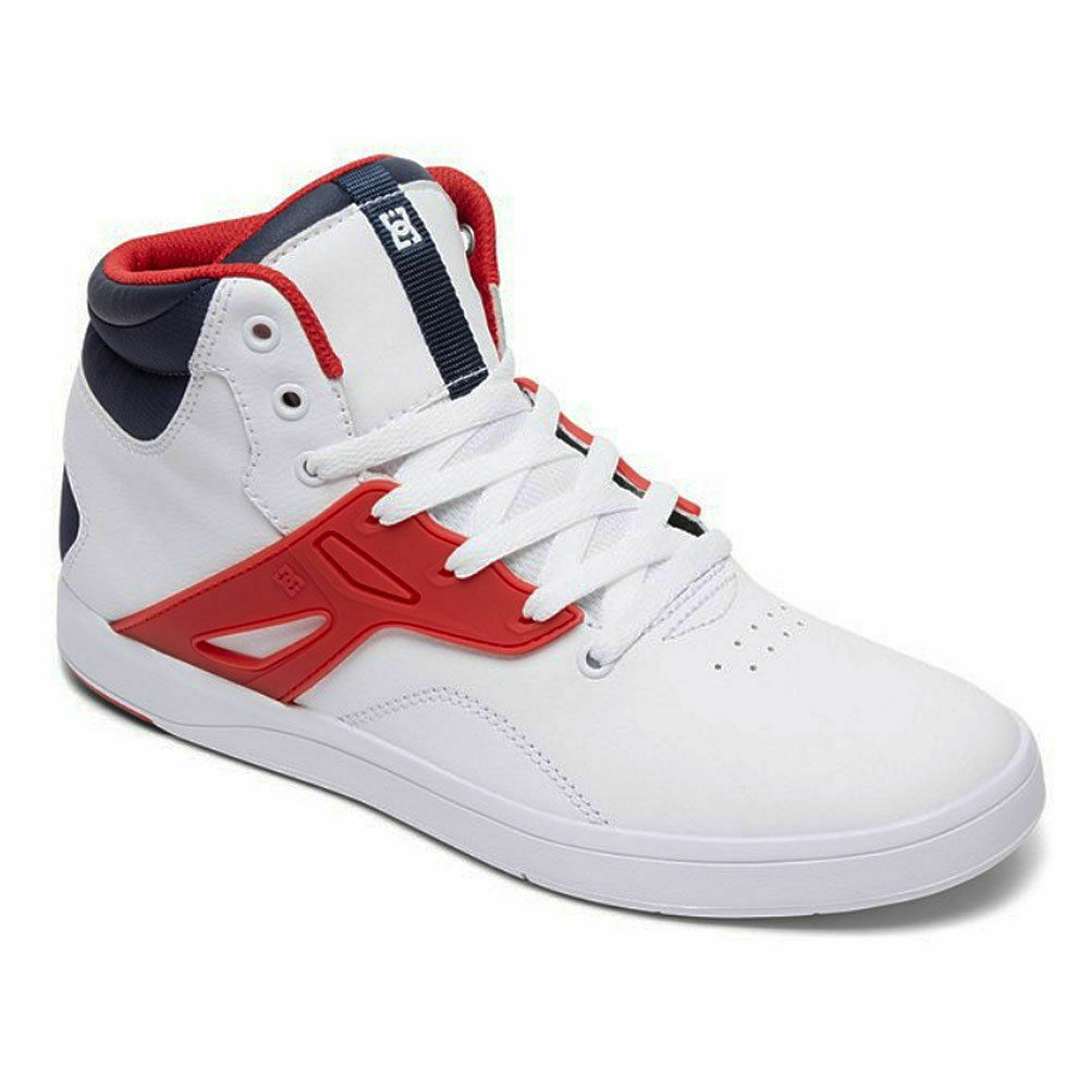DC shoes Men's Frequency Hi Top Sneaker shoes White Nvy Red High-Top Footwear
