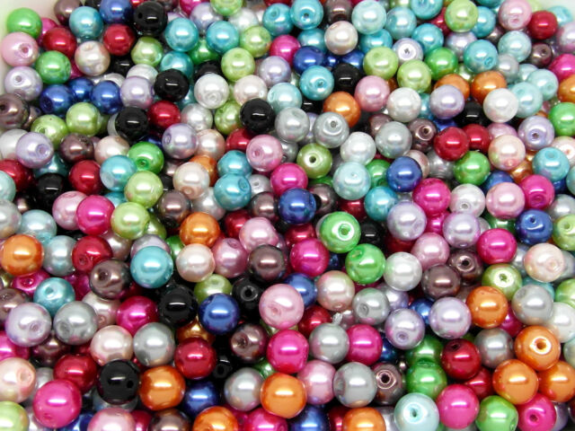100 Glass Pearl 7-8mm Beads Mixed Colours Jewellery Making J11403B