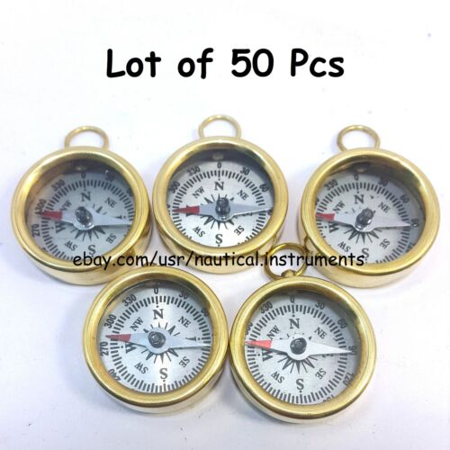 VINTAGE STYLE BRASS POLISH FINISHED SILVER DIAL POCKET COMPASS LOT OF 50 PIECE