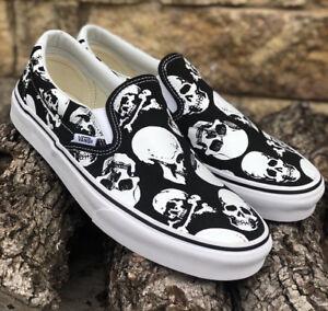 f2a71e5d4c New! Vans Classic Slip On Skulls Black White Canvas Men s Size 10
