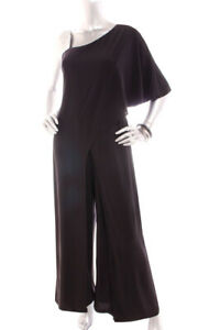 a9952c40d4 Details about NEW (A) Women Roz Ali One shoulder Faux Wrap Wide Leg Maxi Jumpsuit  Black 14