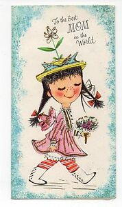 Details about Vintage Pollyanna Mother's Day Greeting Card Glitter Adorable  Little Girl