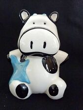 "COW PIGGY BANK 5"" Black and White Ceramic with Blue Star"