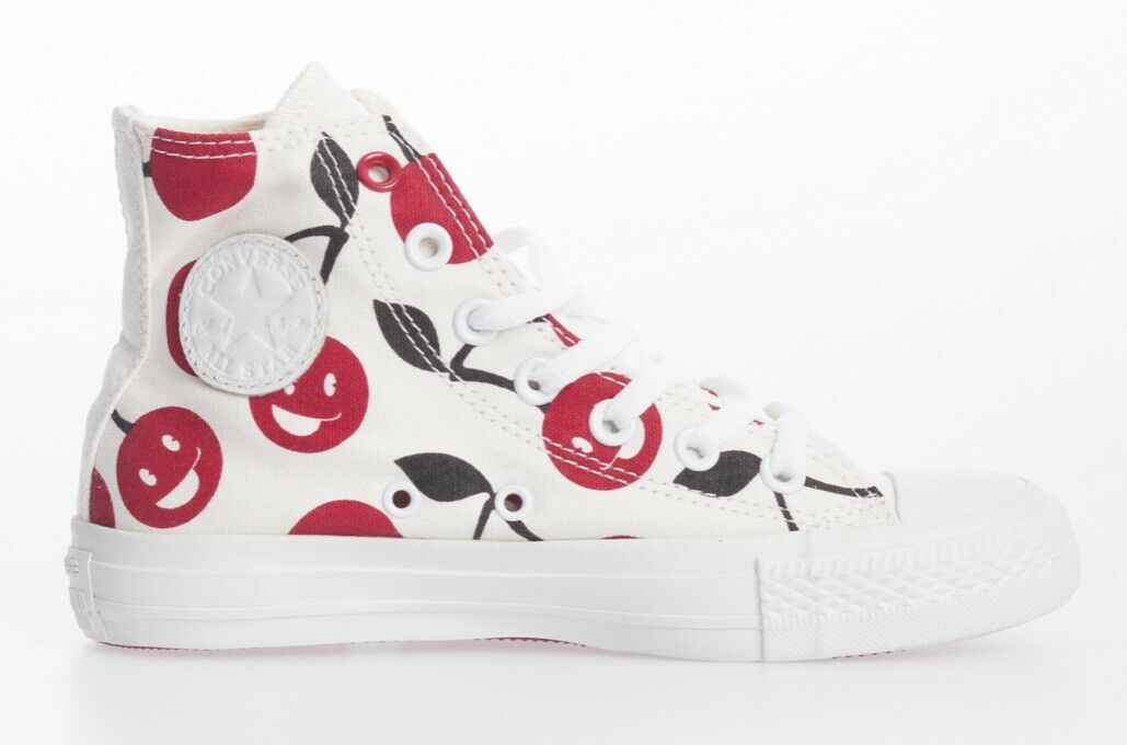Converse Unisex Chuck Taylor White High Top Red Black Patterned Canvas Eu 36