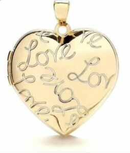 9ct White Gold Heart Shape Locket with Love Motif