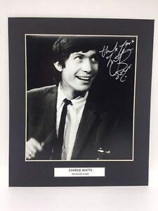 Rare-Charlie-Watts-Rolling-Stones-Signe-Affichage-Photo-COA-Autographe-039-Pierres