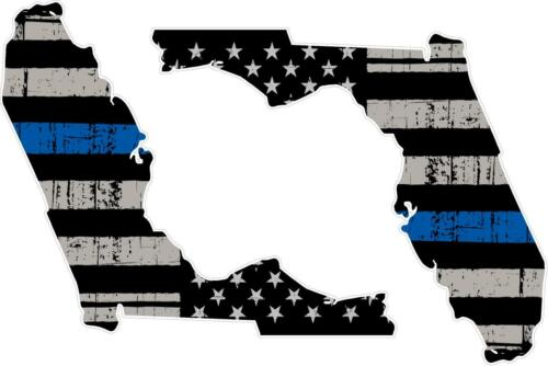 "PAIR 5/"" State of FLORIDA Tattered Flag REFLECTIVE Decals Thin Blue Line"