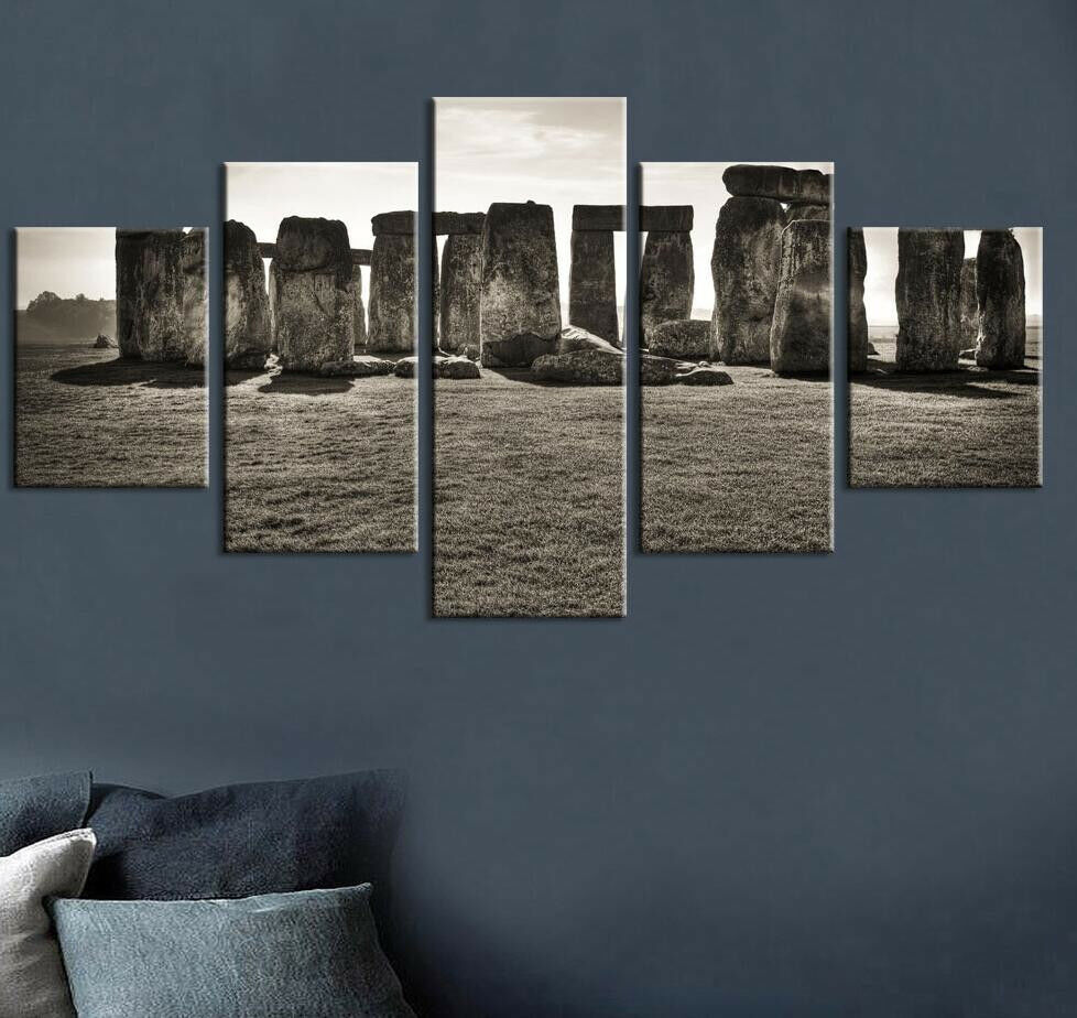 Ancient Stonehenge Medieval Salisbury 5 Panel Canvas Print Wall Art Home Decor