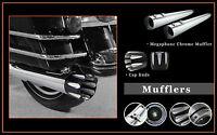 4.5 Chrome Megaphone Slid-on Mufflers S02 Jet End Caps For Harley Flhtc 95-13