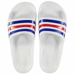 f6cc24d93 NEW Adidas Mens Duramo Sliders Flip Flops White Red Blue SIZE FROM 4 ...